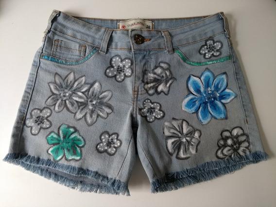 Short Jeans Feminino Customizado Pintado Elastano 38 Roupa