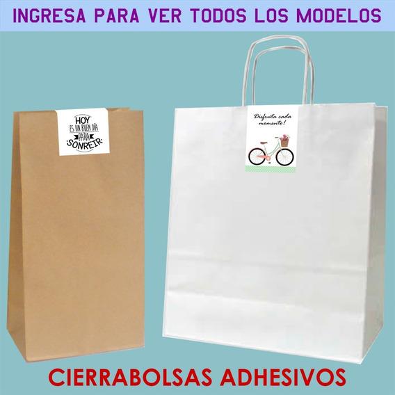 50 Stickers Cierrabolsas 4x7cm Frases Flores