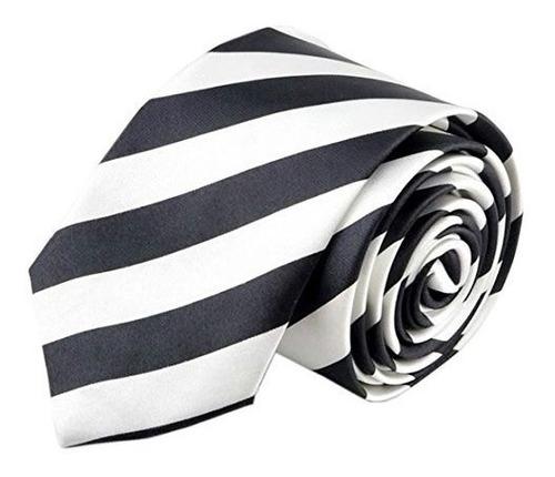 Imagen 1 de 5 de Hola Corbata Unisex Rayas Blanco Negro 2  Corbata Delgada C