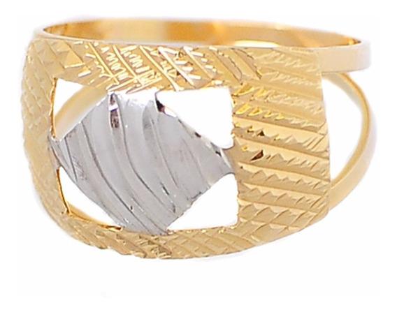 Anel Dois Aros Vazado Banhado Em Ouro 18k - Frete Grátis