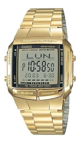 Relógio Casio Vintage Dourado Data Bank Db-360g-9adf + Nf