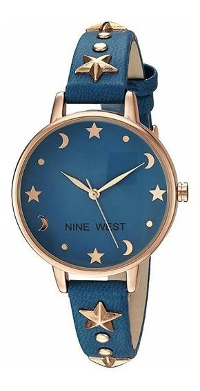 Reloj Nine West Dama Nw/2126rgbl, Azul Quartz Metal Original