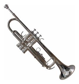 Trompeta Niquelada Con Estuche Y Accesorios De Limpieza