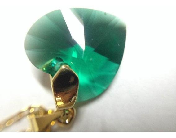 Corazon Cristal Swarovski Esmeralda C/cadena En Chapa De Oro