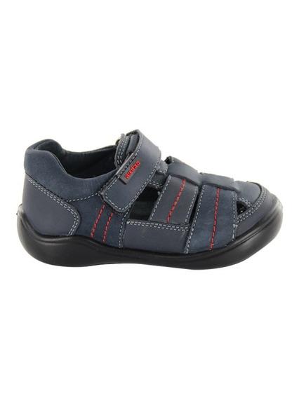 Sandalia Para Niño Con Velcro Audaz Mod Castor Azul T13-18
