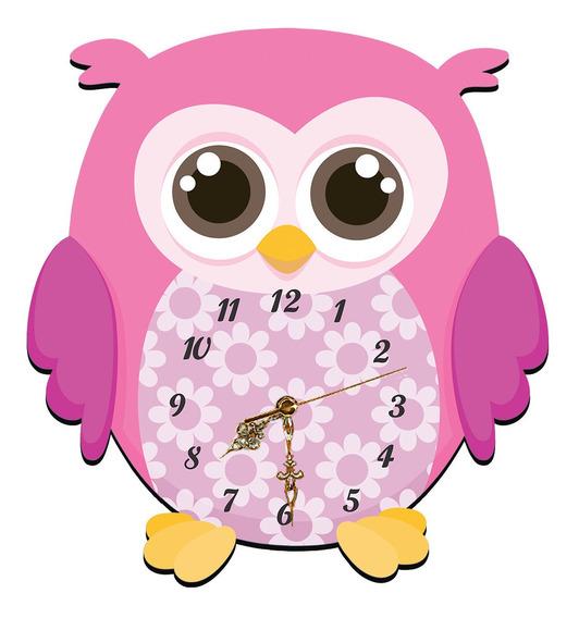 Relógio De Parede Coruja Corujinha Decoração 32x35 Mdf Vinil