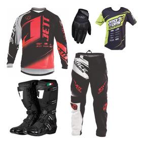 Kit Roupa + Luva + Bota Jett Trilha Motocross + Super Brinde