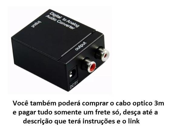 Conversor Optico E Coaxial Digital Para Rca Analógico Stereo