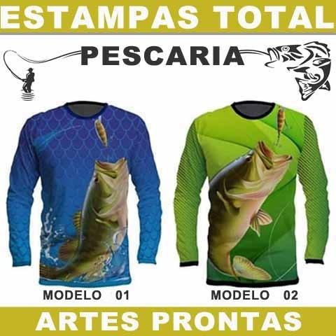 Pacote Vetores Editáveis Camiseta Pescaria Sublimação Total