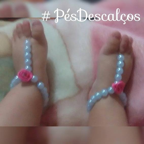 Sandália Pés Descalços Para Bebê Feita De Pérolas