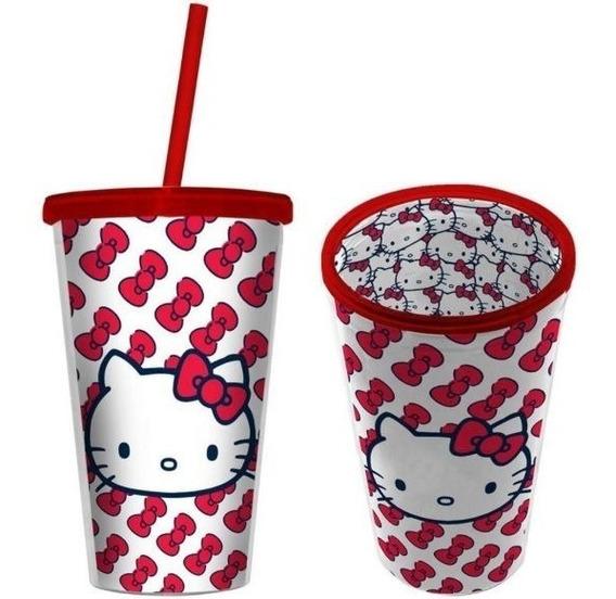 Kit 2 Copo Canudo Hello Kitty - Produto Oficial