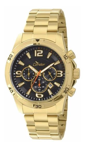 Relógio Condor Masculino Dourado Covd33ae/4p Barato Vitrine