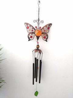 Campana De Viento Metalica Con Figura De Mariposa Amarilla