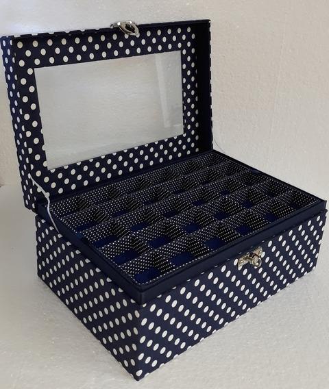 Caixa Para Bijuterias Com Divisórias Azul Marinho