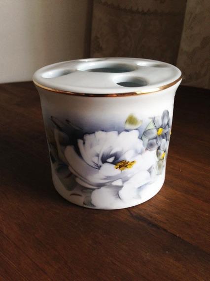 Porta Escova Porcelana Pintada A Mão
