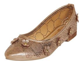 Calzado Dama Mujer Zapato Flat Gohs Flores Metalizado Casual