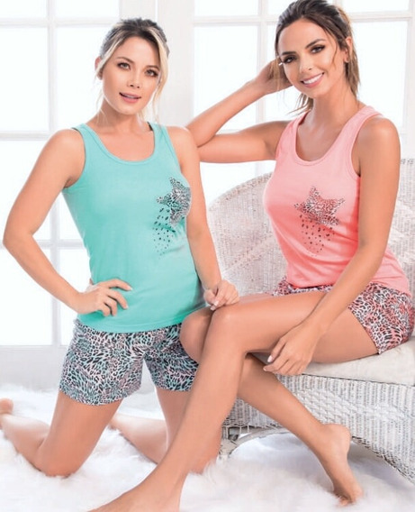 Pijama Star Animal Print Mujer Juvenil Multiuso Short X 1und