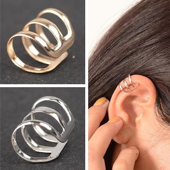 1 Ear Cuff Brinco Pressão Piercing Triplo Frete Fixo R$ 10