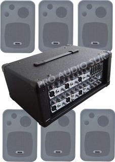 6 Bafles Pared Amplificador Moon M610 200w Musica Funcional