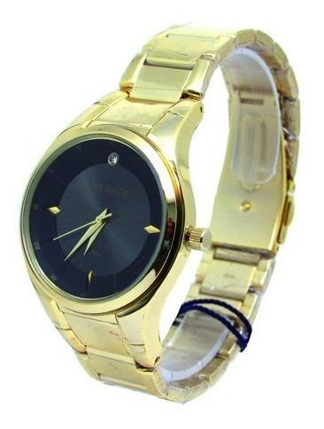 Relógio Atlantis G3447 Dourado Fundo Preto Feminino Original