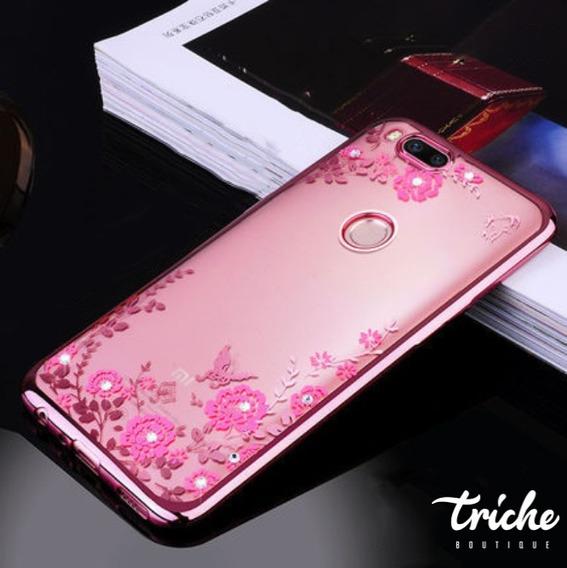 Funda Case Flores Pedrería Dama Rosa Dorado Xiaomi Mi A1