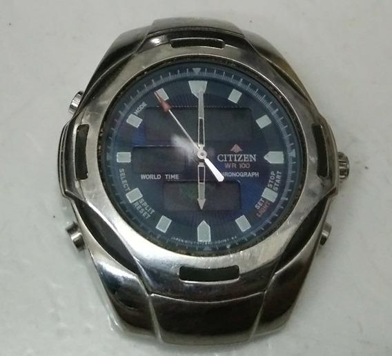 Relógio Antigo Citizen Promaster Wr100 Cronograph World Time