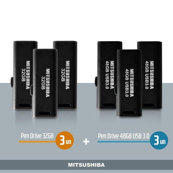 Kit Pen Drive 32gb 3pcs + 48gb (usb 3.0) 3pcs Mitsushiba