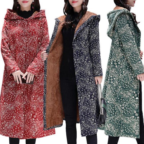 Abrigo Largo Con Capucha Para Mujer, Talla Grande, Diseño F