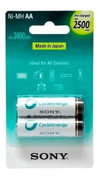 Pilha Sony 2x Recarregável Aa Cycle Energy 2500mah Original