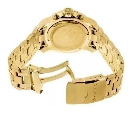 Relógio Invicta Pro Driver 0075 Original Dourado Fundo Verde