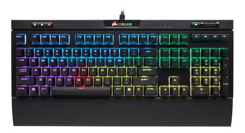 Imagen 1 de 4 de Teclado gamer Corsair Strafe MK.2 QWERTY Cherry MX Red inglés US color negro con luz RGB