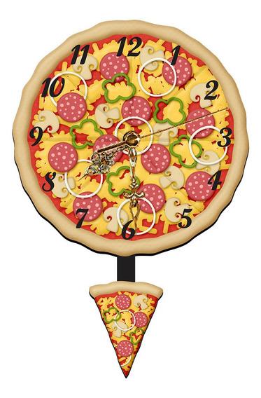 Relógio Decorativo De Parede Pizza Geek Lar Doce Lar Mdf