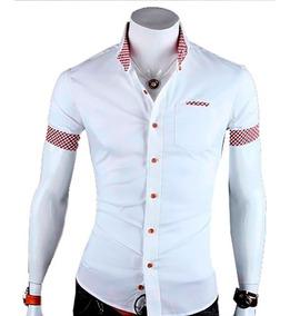 Camisa Social Slim Fit 100% Algodão Manga Curta Mod Cx01