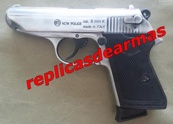 Pistola De Fogueo Walther Ppk Pulida Cal 9 Mm + 25 Cartuchos