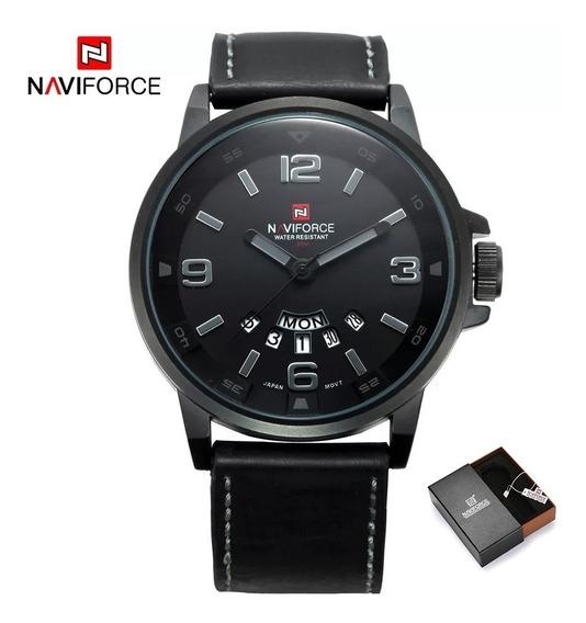 Relógio Masculino De Luxo Naviforce 9058 Analógico Anadigi Pulseira De Couro Casual Original Promoção Nota Fiscal+caixa