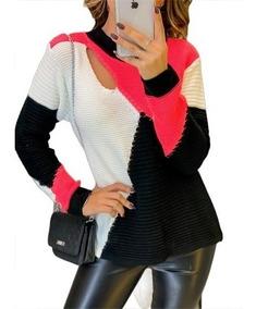 Blusa De Frio Tricô Feminino Colorida Detalhe Lindo Blogueir