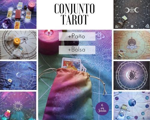 Paño Tarot (rueda Astrológica) + Bolsa (para Cartas)