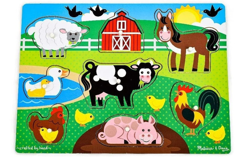 Melissa & Doug Farm Wooden Peg Puzzle Animales De Granja