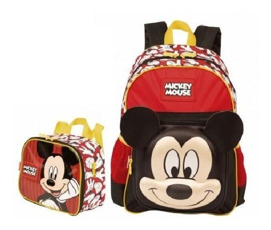 Mochila Mickey Mouse Alto Relevo Escolar Infantil Costas 19y Tam M Lancheira Especial Sestini