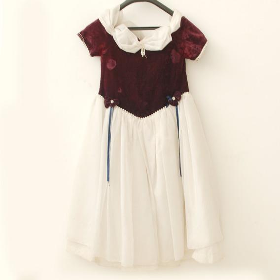 Roupa P/ Estudio Fotog-vestido Infantil Vinho E Branco