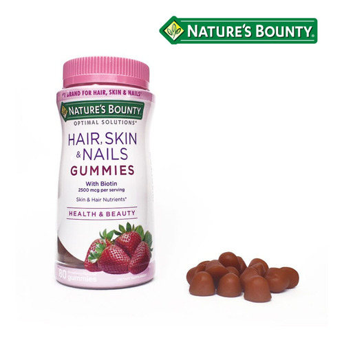 Imagen 1 de 3 de Natures Bounty Hair Skin & Nails Gummies X 80 Comp