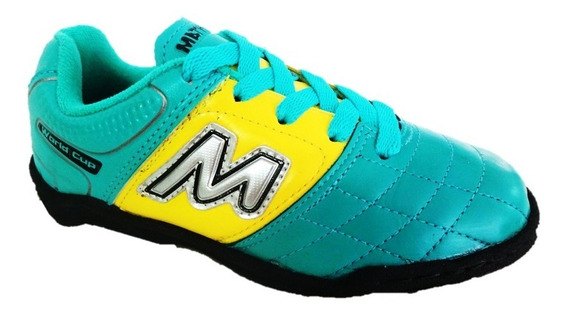 Chuteira Futsal Mathaus Verde Agua/amarelo Frete Off 004384