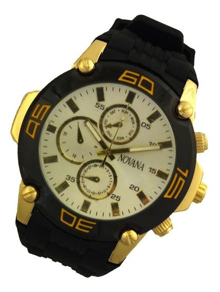 Oferta Relógio Pulso Masculino Novana Pulseira Preta B5711