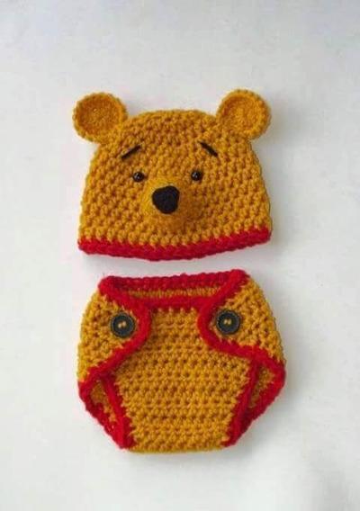 Conjunto Gorro Y Cubrepañal Para Bebe En Crochet Lana O Hilo