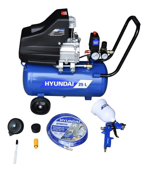 Kit Pintor Compresora, Pistola Gravedad + Manguera Hyundai