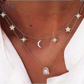 Colar Gargantilha Lua E Estrelas Dourada Metal Bijuteria