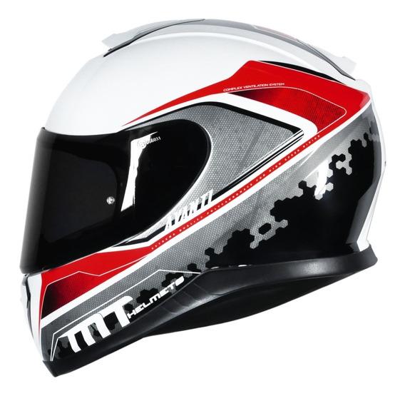 Capacete Motociclista Mt Thunder 3 Avant Branco Brilhante