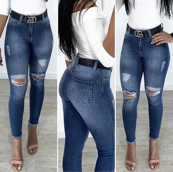 Calça Jeans Feminina Cigarette Skinny Rasgada Destroyed Com Bolsos Manchada Tendencia Moda Cintura Alta Levanta Bumbum