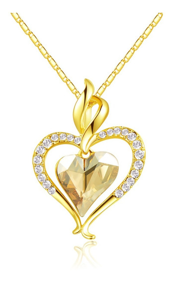 Brillante !! Collar Corazon Dorado Regalo Promesa Amor Novia