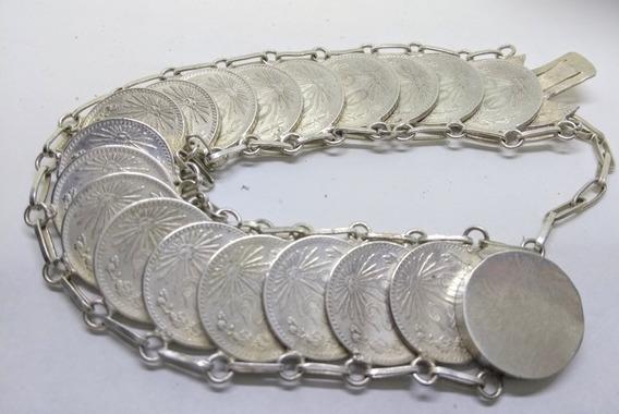 Pulsera Monedas Antiguas 20¢ Plata720 Descuento Buen Fin-15%